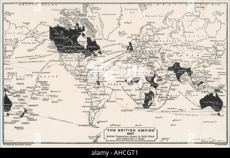 World Map 1897 - Stock Photo
