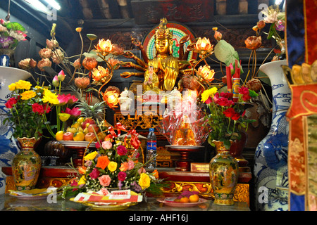 Vietnam , Hanoi , interior view of the shrine of the one pillar pagoda built in 1049 by Emperor Ly Thai Tong travel - Stock Photo