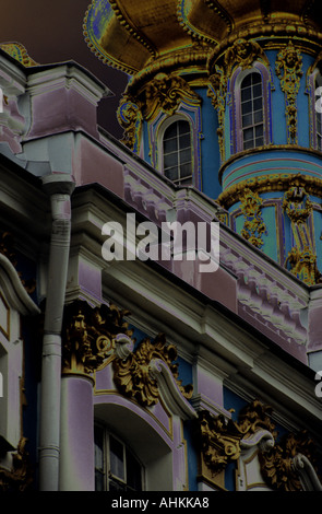 Close up of part of St Catherines Palace, Pushkin Palace, Tsarskoe Selo, St Petersburg, Russia - solarised - Stock Photo