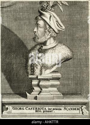 Skanderbeg (George Kastrioti), 6.5.1405 - 17.1.1468, Albanian prince, portrait as bust, engraving by anonymous, - Stock Photo