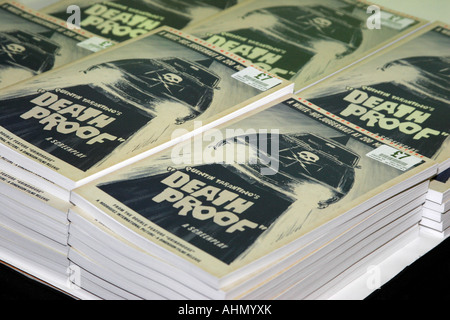 A pile of Quentin Tarantino's new film script, Death Proof forsale and ready for a personal signing in one of London's - Stock Photo