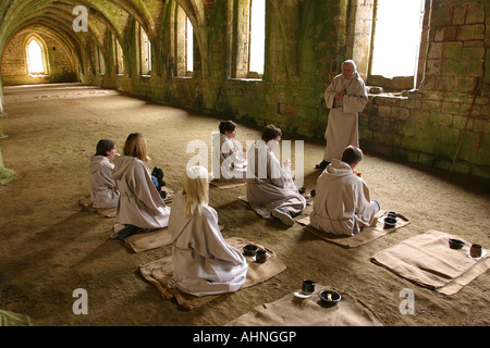 UK Yorkshire Ripon Fountains Abbey Its A Monks Life in Lay Brothers Refectory - Stock Photo