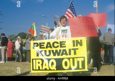 American protesting U S involvement in Kuwait Los Angeles California - Stock Photo