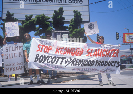Environmentalists protesting against lumber industry - Stock Photo