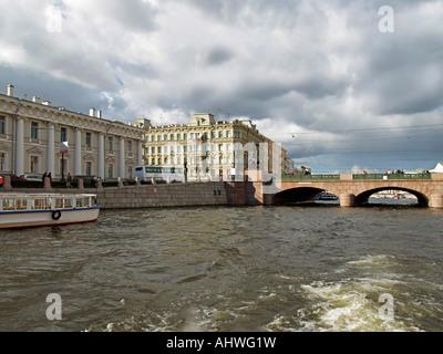 Anitschkow bridge over the river channel Fontanka in Saint Petersburg Russia - Stock Photo