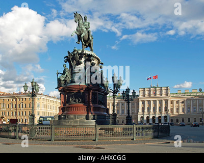 memorial for Nicholas I of Russia in front of Mariinsky Palace on Saint Isaacs Square in Saint Petersburg Russia - Stock Photo