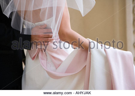 Bride and groom standing at wedding, groom with arm around bride, rear view, mid-section - Stock Photo