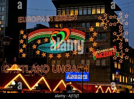 Christmas illuminations in Essen, Germany. - Stock Photo