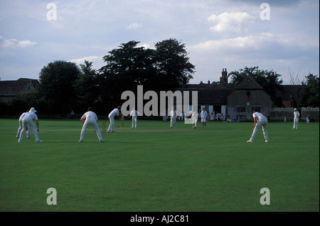 Village cricket match, Lacock,  Wiltshire, England, UK - Stock Photo