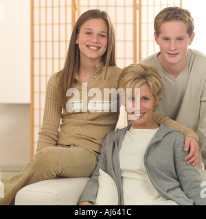A mother with her two children - Stock Photo