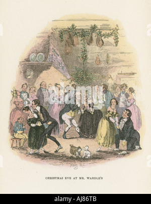 Scene from The Posthumous Papers of the Pickwick Club by Charles Dickens, 1836-1837. Artist: Hablot Knight Browne - Stock Photo