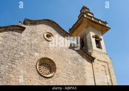 Parish Church of San Bartolome, Old Town of Valldemossa, West Coast, Mallorca, Spain - Stock Photo