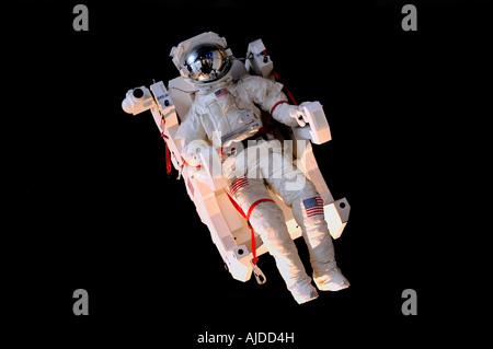 Simulated astronaut in space at The Cite des Sciences at de l'Industrie at La Villette Park in Paris, France - Stock Photo