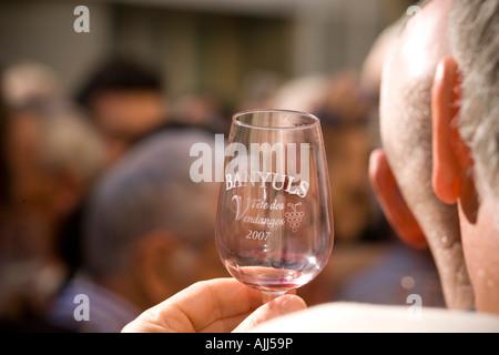 Wine tasting at Fete des Vendanges Banyuls sur Mer France - Stock Photo