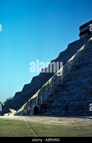 Equinox serpent shadow on the stairs of the castle pyramid, Chichen Itza Maya Ruins, Yucatan, Mexico, occurs September, - Stock Photo