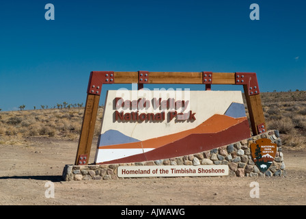 Death Valley Sign at entrance California USA - Stock Photo