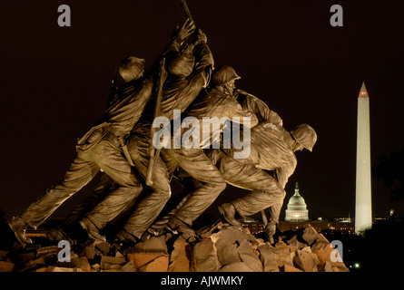 Iwo Jima / US Marine Corps War Memorial, Arlington Virginia, USA, with the U.S. Capitol in the background - Stock Photo
