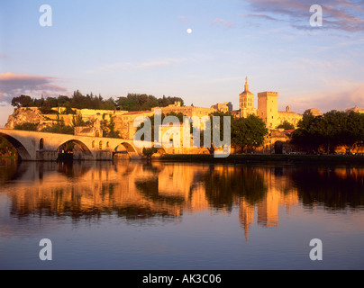 Avignon, Vaucluse, Provence, France, Rhone River, Pont d Avignon, Pont Saint Benezet, Palais des Papes, Palace of - Stock Photo