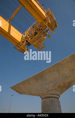 Elevated viaducts on the unfinished Dubai Metro rapid transit rail network railway under construction.   Advanced - Stock Photo