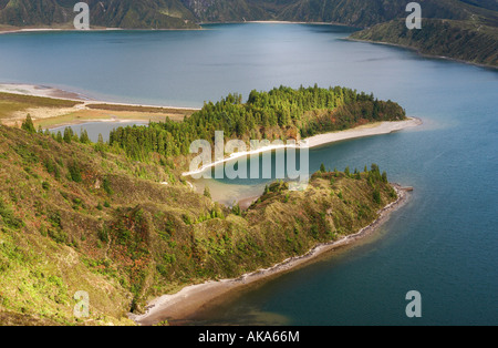 Lagoa do Fogo (Fire lake) on Sao Miguel island in The Azores - Stock Photo