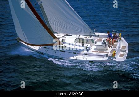 Oceanis 400 yacht under sail - Stock Photo