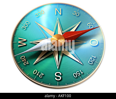 compass symbol of direction orientation showing the way to the future - Stock Photo