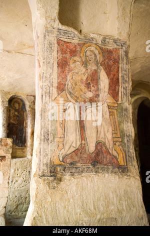 Santa Maria delle Malve rocky church, Sasso Caveoso, Matera, Basilicata, Italy - Stock Photo