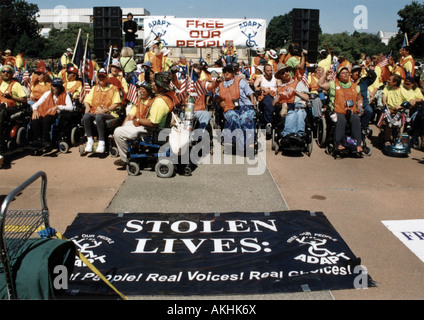 Crowd of people with disabilities preparing to MARCH ON WASHINGTON, D.C. to advocate civil rights of people with - Stock Photo