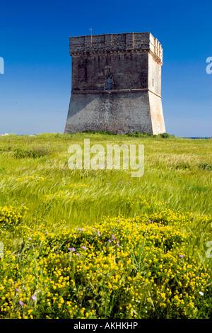 Torre Chianca coastal tower, Porto Cesareo, Puglia, Italy - Stock Photo