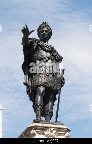 bronze statue emperor Augustus memorial in Augsburg Germany - Stock Photo