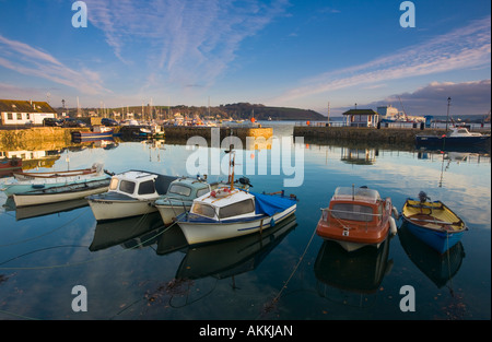 Small boats in the harbour at Falmouth Cornwall GB - Stock Photo