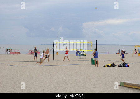 Parnu Estonia - young people playing volleyball on the beach in Parnu Estonia Baltic States Eastern Europe - Stock Photo