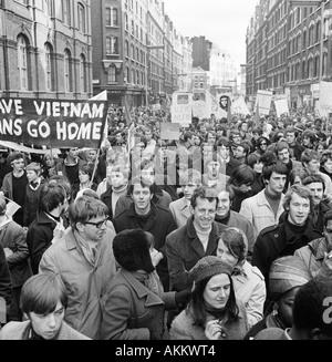 Anti-Vietnam War Demonstration, London, 17 March 1968. - Stock Photo