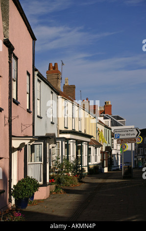 High St Thornbury Gloucestershire Pastel coloured cottages - Stock Photo