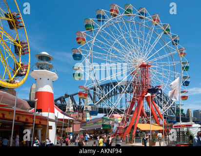 Luna Park with the Harbour Bridge behind,  Milsons Point, Sydney, New South Wales, Australia - Stock Photo