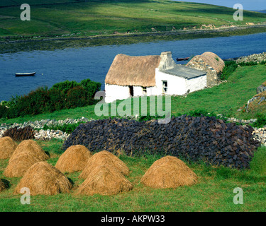 IE - CO. GALWAY: Typical Connemara Cottage near Clifden - Stock Photo