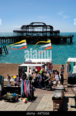 West Pier Brighton seafront East Sussex England - Stock Photo