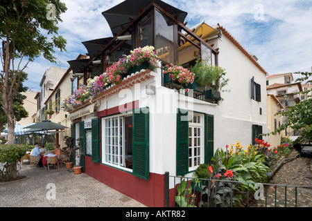 Restaurant in the Old Town (Zona Velha), Funchal, Madeira, Portugal - Stock Photo