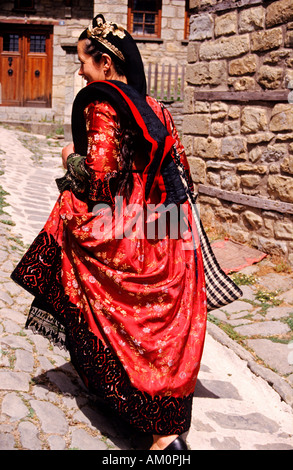 Greece, Thessaly region, Meteora, women wear traditional costumes on ceremonial day - Stock Photo
