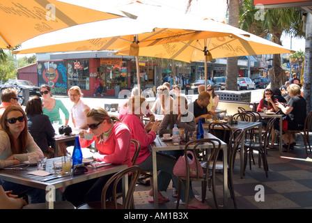 Sidewalk cafe on Acland Street, St. Kilda, Melbourne, Victoria, Australia - Stock Photo