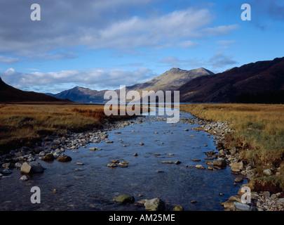 SCOTLAND Highlands Knoydart River Barrisdale flowing to Loch Hourn Beinn Sgritheall - Stock Photo