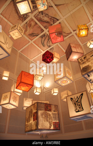 Decorative paper lanterns hanging from the ceiling of the South Korean pavilion at the World Expo 2005 in Japan - Stock Photo