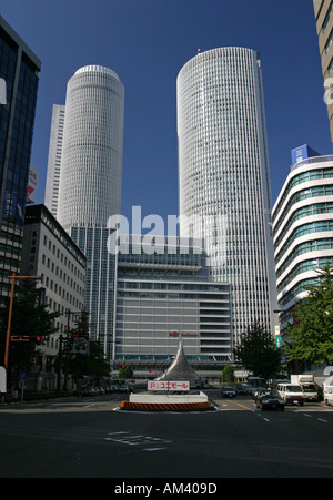 The twin tower buildings at Nagoya station in Nagoya Japan Asia world Expo city 2005 - Stock Photo