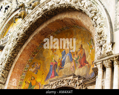 Mosaic over the central main entrance arch depicting the Last Judgement St Mark's Basilica Venice Italy - Stock Photo