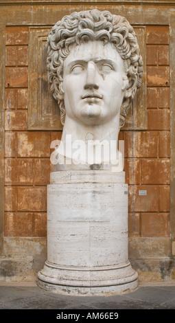Head of a giant Roman statue of the Emperor Augustus. Vatican Museum, Rome, Lazio, Italy. - Stock Photo