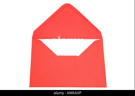 Red envelope isolated against white. - Stock Photo