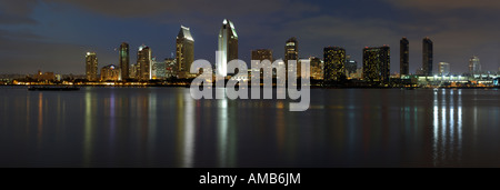 Panorama of San Diego downtown at dusk shot from Coronado island - Stock Photo