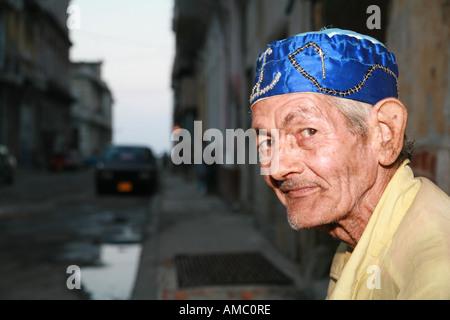 Cuba Havana portrait of an old man in the streets of havana - Stock Photo