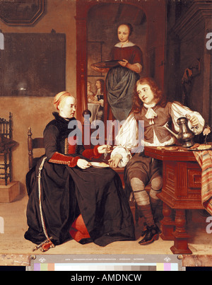 fine arts, Metsu, Gabriel, (1629 - before 27.10.1667), painting, 'Young couple having breakfast', circa 1667, state - Stock Photo