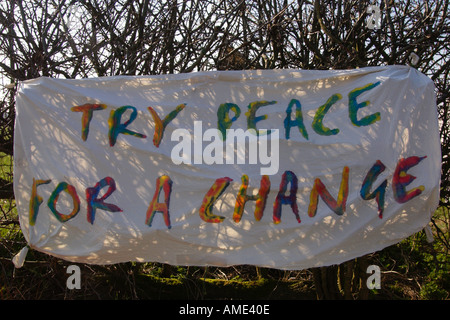 TRY PEACE FOR A CHANGE protest banner at the Gate 10 peace camp RAF Fairford against the war in Iraq and B52 bombers - Stock Photo